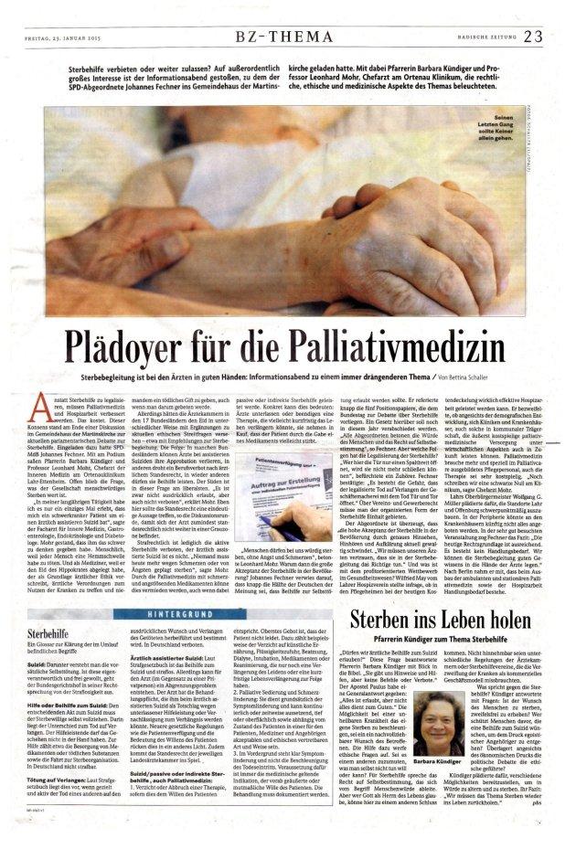 Podium zu Gesetzesvorlagen zu Sterbebegleitung und zu Palliativmedizin mit Prof. Mohr (Klinikum Lahr-Ettenheim), Dr. Johannes Fechner (MdB, SPD) und Pfarrerin Barbara Kündiger, am 23. Januar 2015