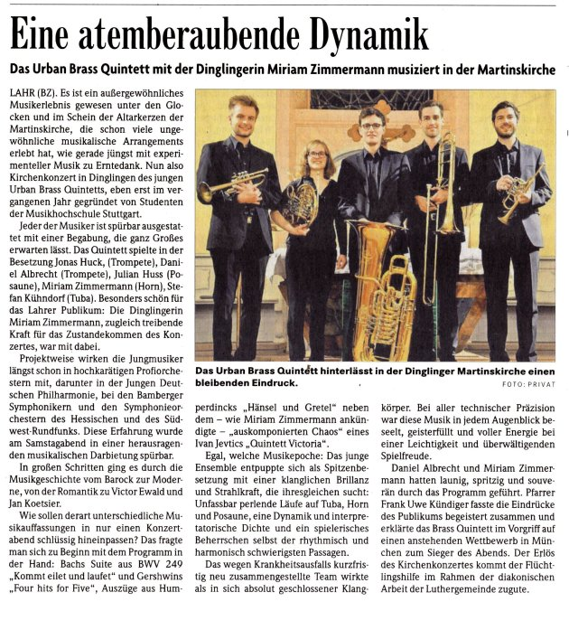 Daniel Albrecht (Trompete), Miriam Zimmermann (Horn), Stefan Kühndorf (Tuba), Julian Huss (Posaune), .Jonas Huck (Trompete), Frank-Uwe Kündiger